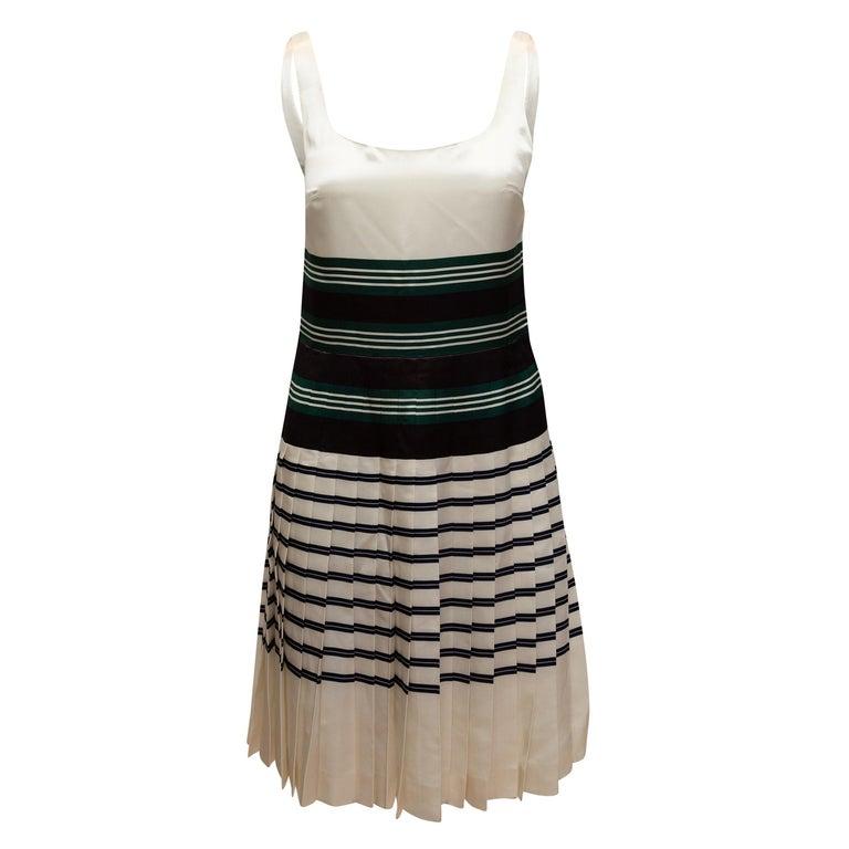 Prada White & Multicolor Striped Sleeveless Dress For Sale