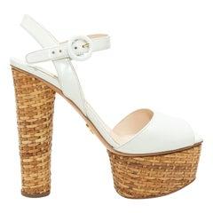 Prada White Patent Leather & Straw Platform Sandals