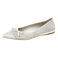 Prada White Perforated Leather Bow Pointed Toe Ballet Flats Size 37.5