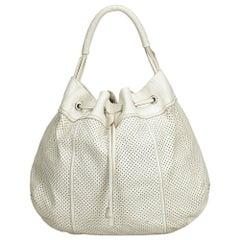 Prada White Perforated Leather Hobo