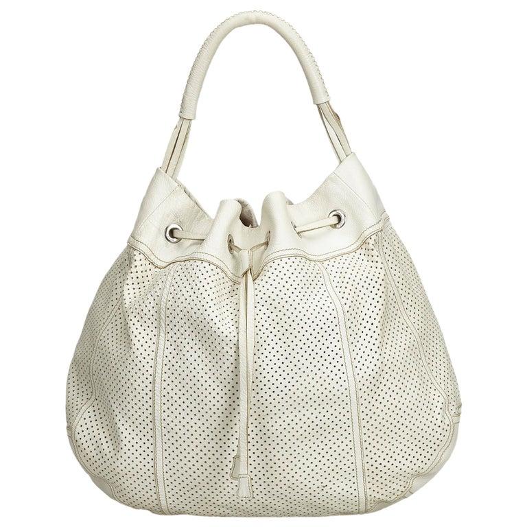 ff5e2628b701c2 Prada White Perforated Leather Hobo at 1stdibs
