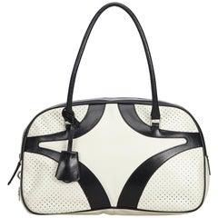 Prada White Perforated Leather Shoulder Bag