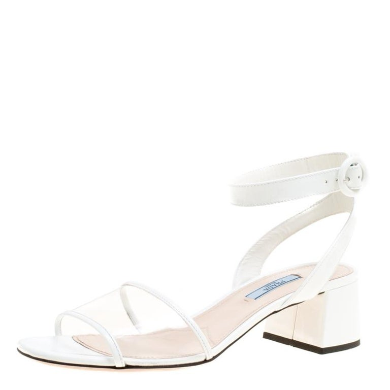 7b0ae7b70 Prada White PVC and Patent Leather Sandals Size 39 For Sale at 1stdibs