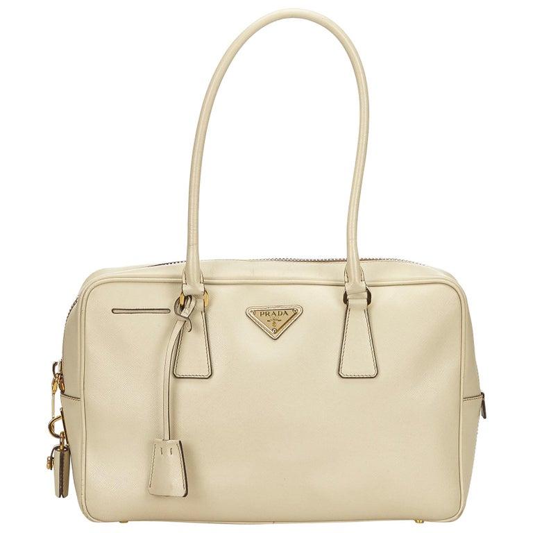 8eb80055557f Prada White Saffiano Leather Bag at 1stdibs