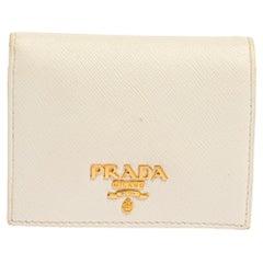 Prada White Saffiano Leather Bifold Wallet