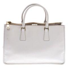 Prada White Saffiano Lux Leather Frame Tote