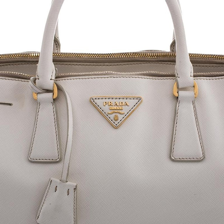 Prada White Saffiano Lux Leather Large Double Zip Tote For Sale 6