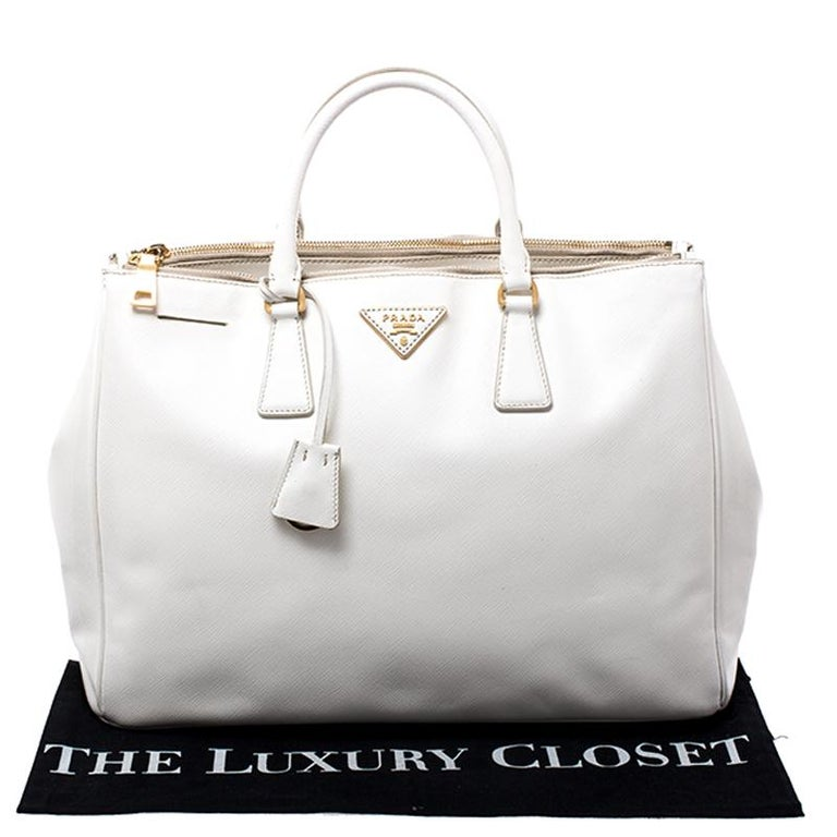 Prada White Saffiano Lux Leather Large Double Zip Tote For Sale 7