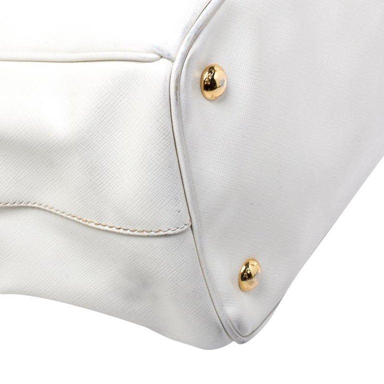 Prada White Saffiano Lux Leather Large Double Zip Tote For Sale 1