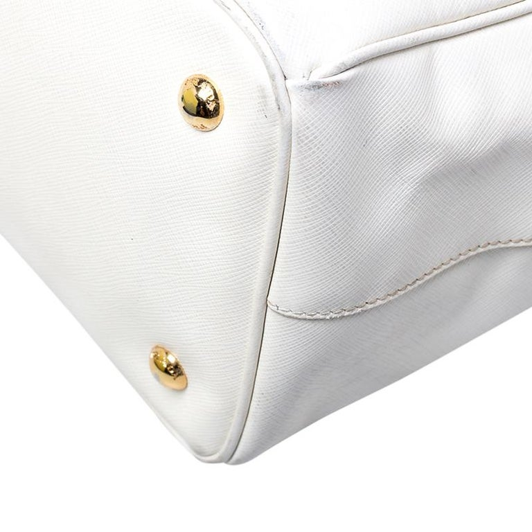 Prada White Saffiano Lux Leather Large Double Zip Tote For Sale 2