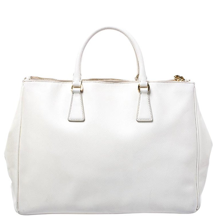 Prada White Saffiano Lux Leather Large Double Zip Tote For Sale 5