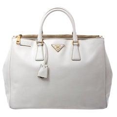 Prada White Saffiano Lux Leather Large Double Zip Tote
