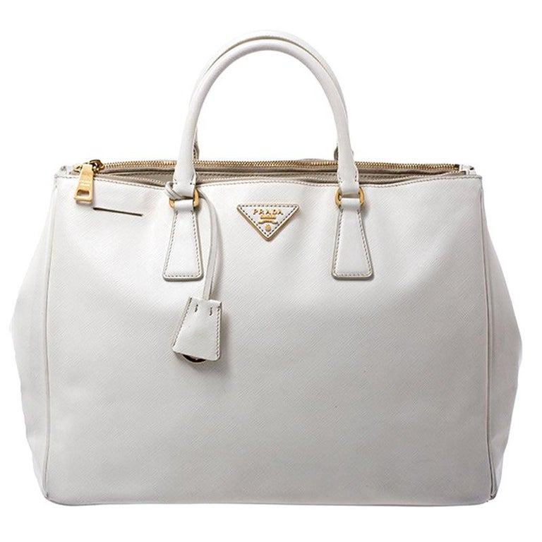 Prada White Saffiano Lux Leather Large Double Zip Tote For Sale