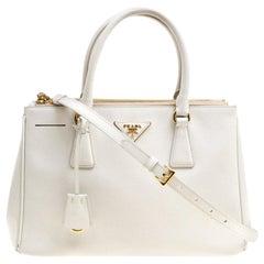 Prada White Saffiano Lux Leather Medium Double Zip Tote