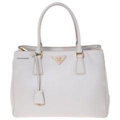 Prada White Saffiano Lux Leather Medium Galleria Tote