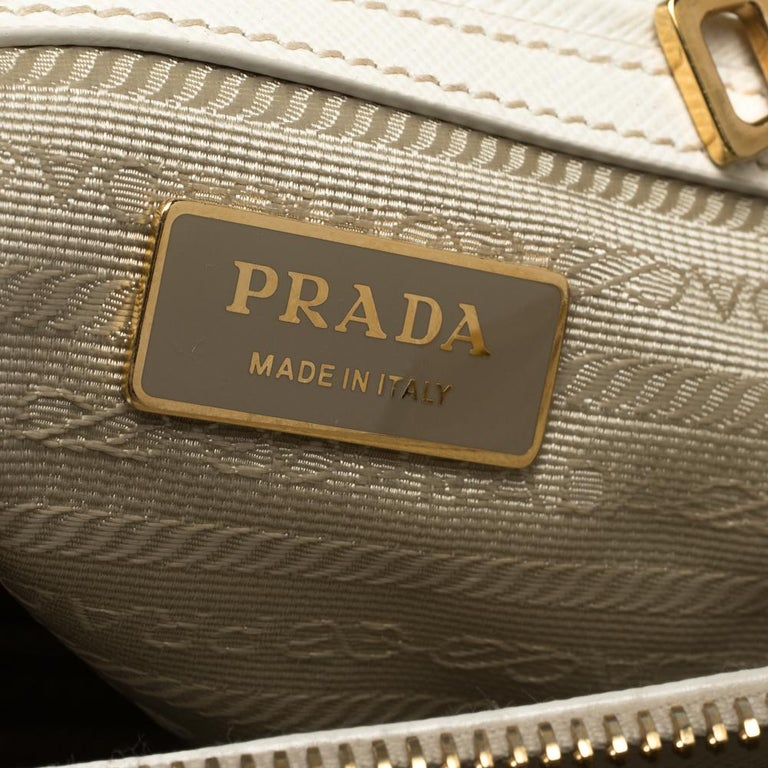 Prada White Saffiano Lux Leather Small Double Zip Tote For Sale 6