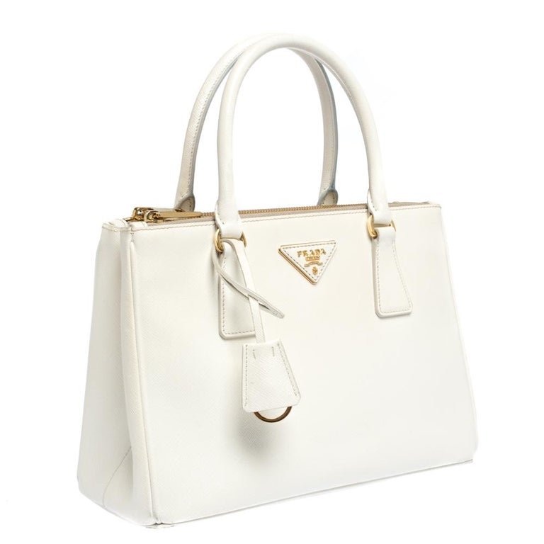 Women's Prada White Saffiano Lux Leather Small Double Zip Tote For Sale
