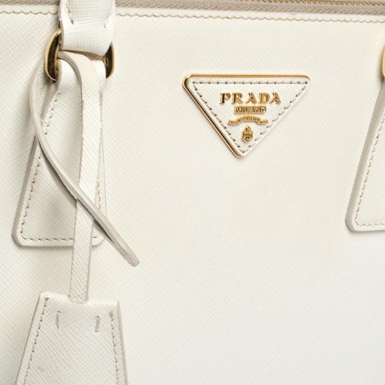 Prada White Saffiano Lux Leather Small Double Zip Tote For Sale 1