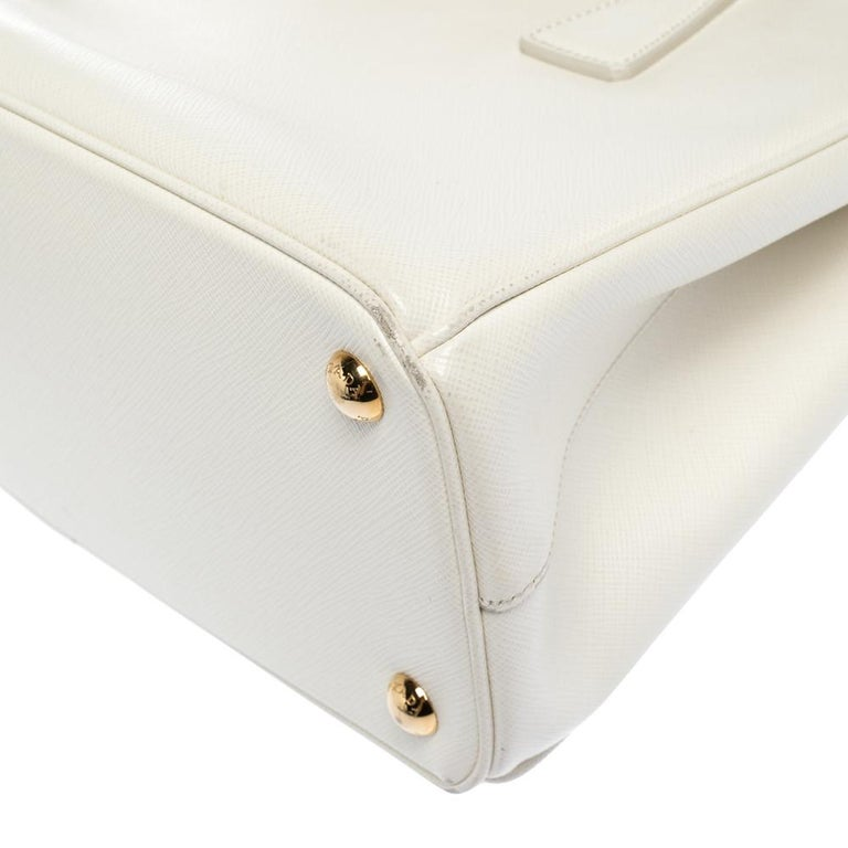 Prada White Saffiano Lux Leather Small Double Zip Tote For Sale 2