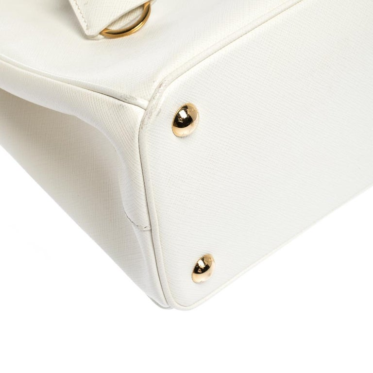 Prada White Saffiano Lux Leather Small Double Zip Tote For Sale 3