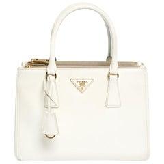 Prada White Saffiano Lux Leather Small Double Zip Tote