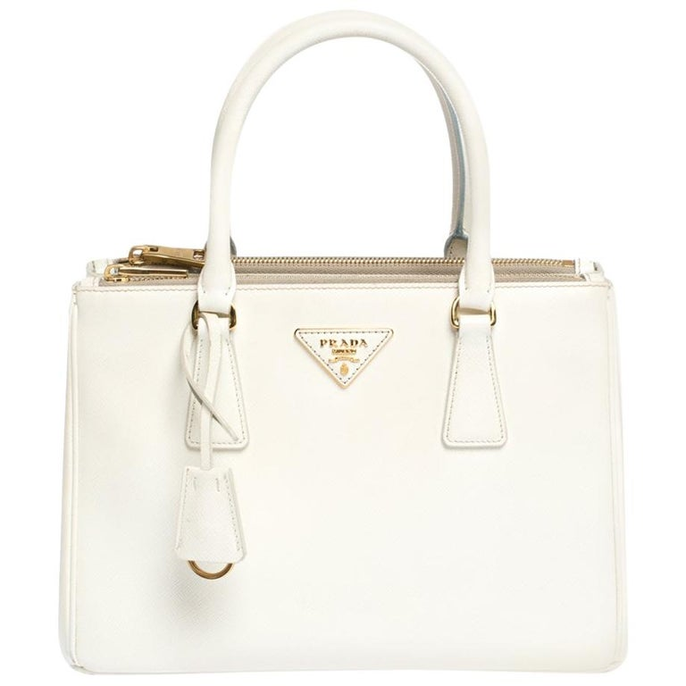 Prada White Saffiano Lux Leather Small Double Zip Tote For Sale