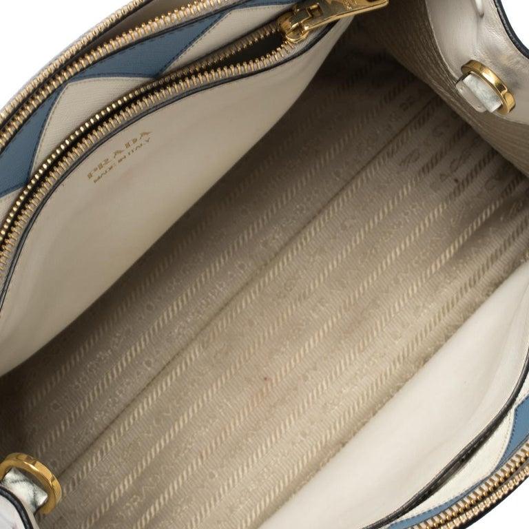 Prada White Saffiano Lux Medium Saffiano Greca Paradigm Tote For Sale 6