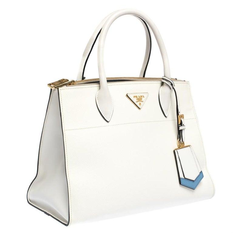 Women's Prada White Saffiano Lux Medium Saffiano Greca Paradigm Tote For Sale