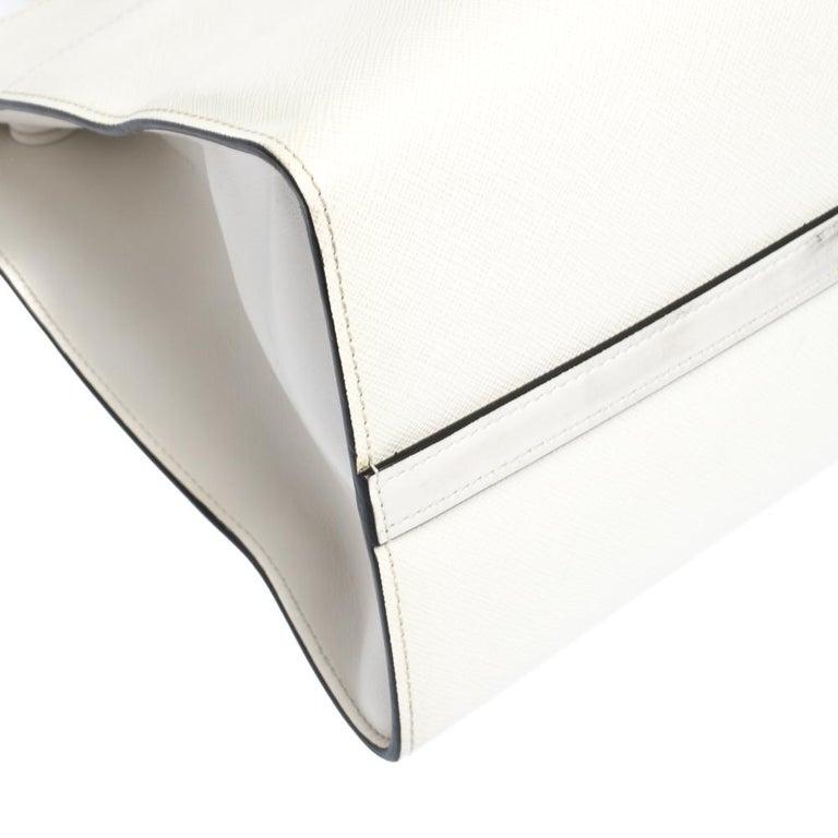 Prada White Saffiano Lux Medium Saffiano Greca Paradigm Tote For Sale 3