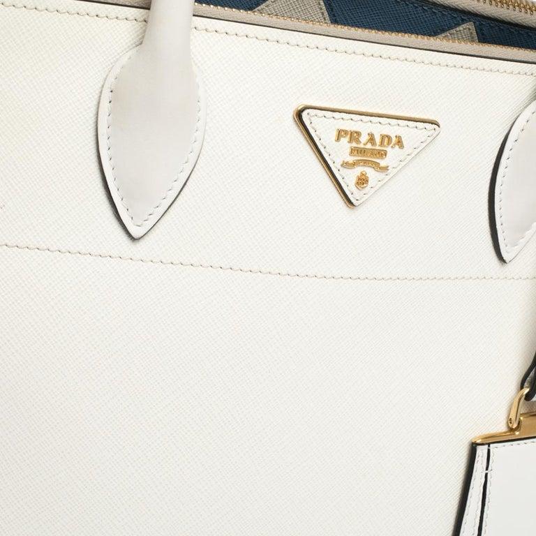 Prada White Saffiano Lux Medium Saffiano Greca Paradigm Tote For Sale 4