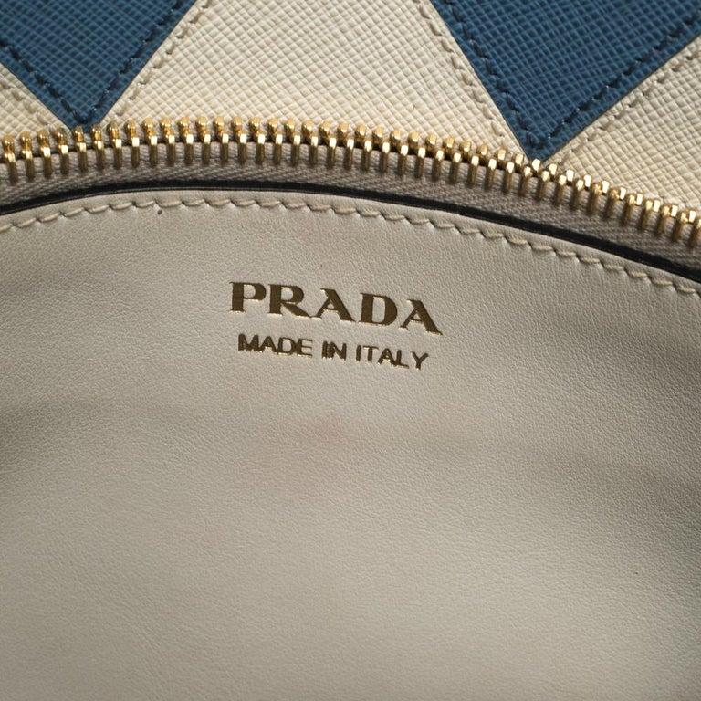 Prada White Saffiano Lux Medium Saffiano Greca Paradigm Tote For Sale 5