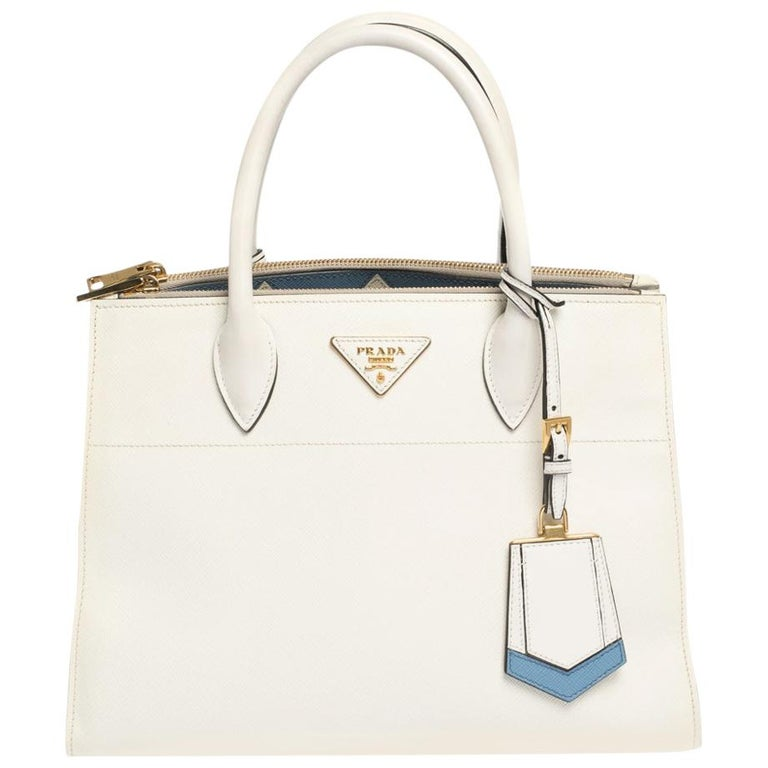 Prada White Saffiano Lux Medium Saffiano Greca Paradigm Tote For Sale