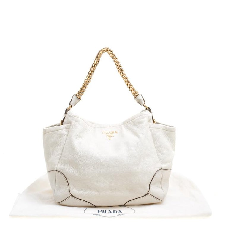 51610e3f73f622 Prada White Shimmering Deerskin Leather Chain Hobo For Sale at 1stdibs