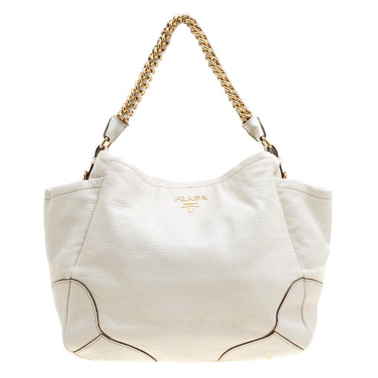 4bc2a7b2d2b2 Prada White Shimmering Deerskin Leather Chain Hobo For Sale at 1stdibs