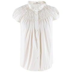 Prada White Smocked-Neck Cotton Poplin Blouse SIZE 40IT
