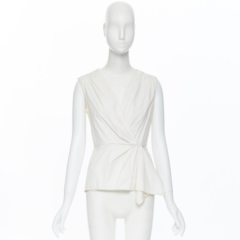 Gray PRADA white stretch cotton draped pleated crossover sleeveless top IT42 For Sale