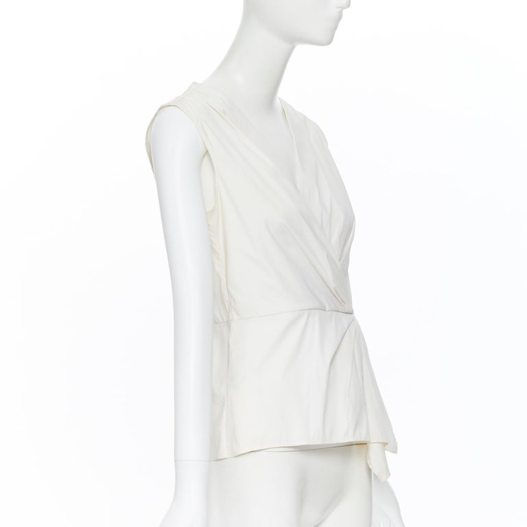 Women's PRADA white stretch cotton draped pleated crossover sleeveless top IT42 For Sale