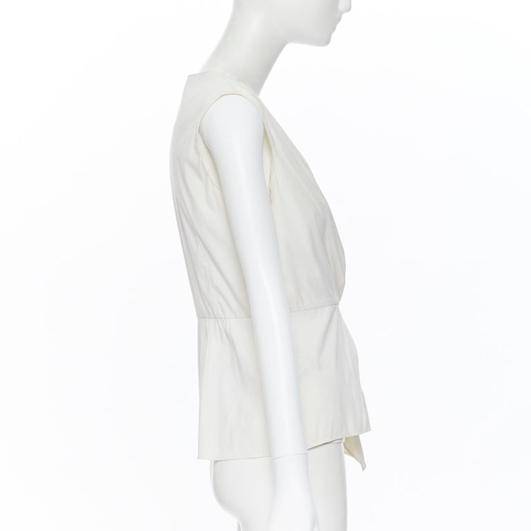 PRADA white stretch cotton draped pleated crossover sleeveless top IT42 For Sale 1