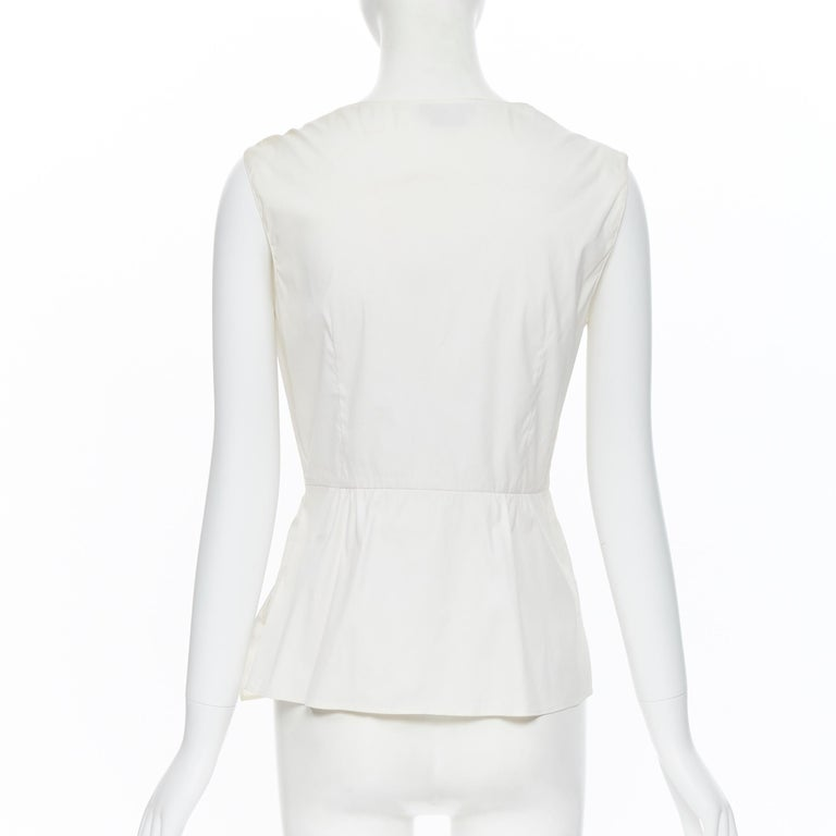 PRADA white stretch cotton draped pleated crossover sleeveless top IT42 For Sale 2