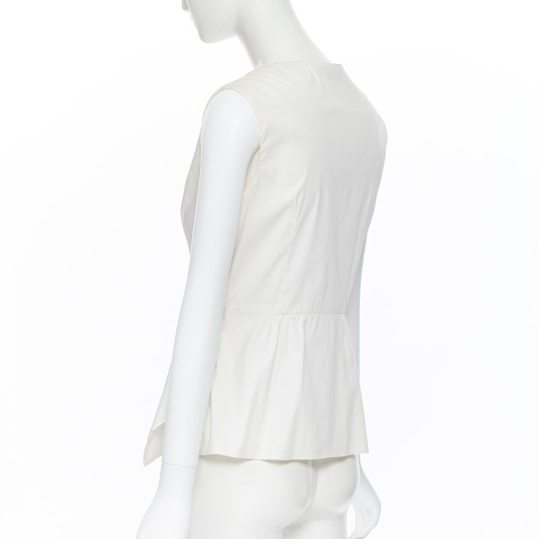 PRADA white stretch cotton draped pleated crossover sleeveless top IT42 For Sale 3