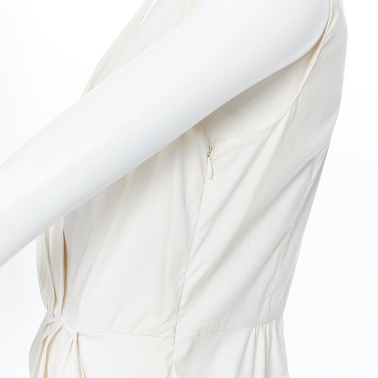 PRADA white stretch cotton draped pleated crossover sleeveless top IT42 For Sale 4