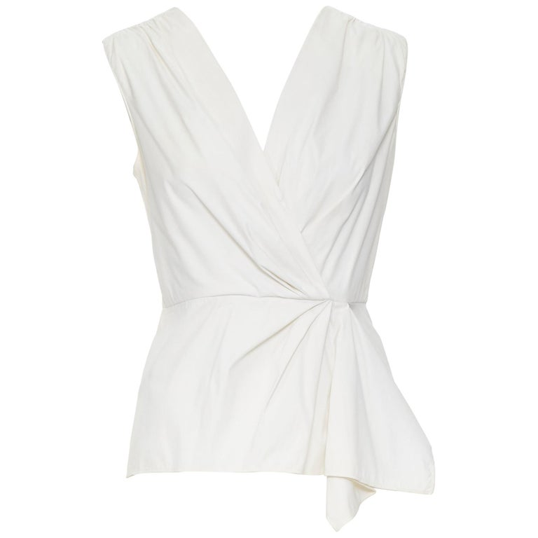 PRADA white stretch cotton draped pleated crossover sleeveless top IT42 For Sale