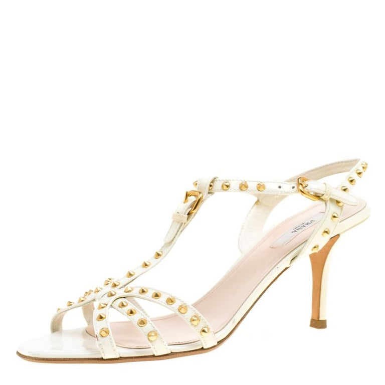 5334b78204c Prada White Studded Patent Leather Strappy Sandals Size 39.5 For Sale