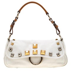 Prada White/Tan Leather Studded Shoulder Bag
