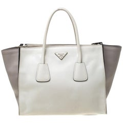 Prada White/Taupe Leather Double Zip Tote