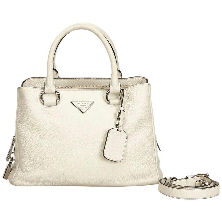 59295962cc0339 Prada White Vitello Daino Leather Satchel at 1stdibs