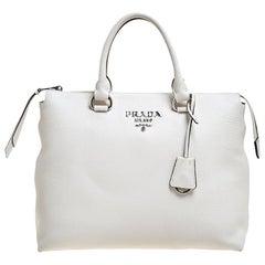 Prada White Vitello Phenix Leather Convertible Bag