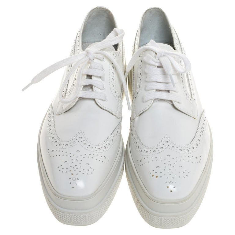 Gray Prada White Wingtip Brogue Leather Platform Derby Size 39.5 For Sale