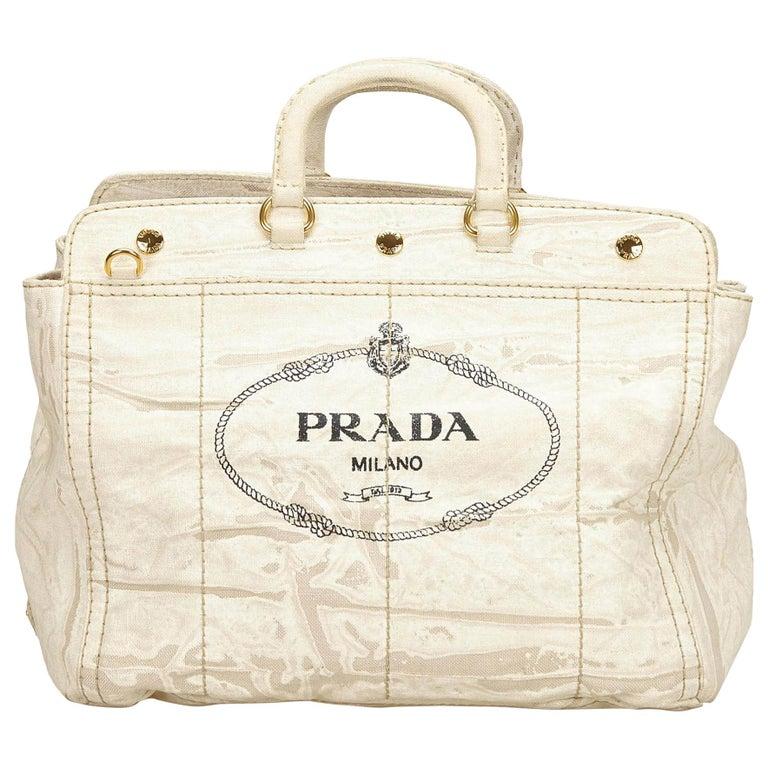 c5fef902eeb4 Prada White x Ivory Canapa Canvas Handbag For Sale at 1stdibs