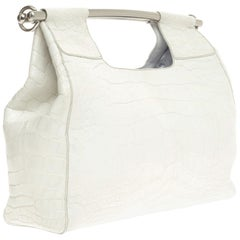 Prada White XL Exotic Alligator Skin Bag Tote Hand Bag